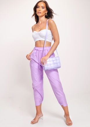 Relaxed Utility Cargo Trousers Pants Purple