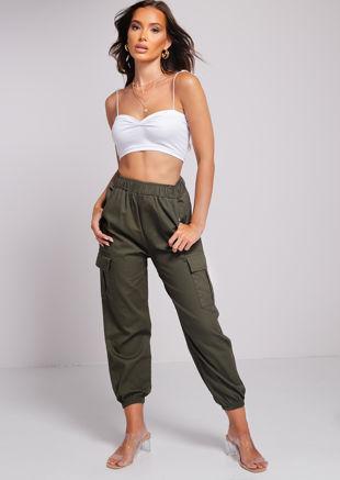 Elasticated Waistband Utility Cargo Pants Green