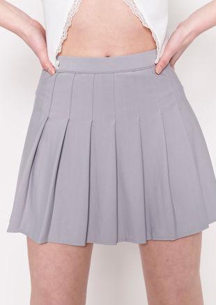 Elasticated Waist Pleated Stitched Lined Mini Skirt Grey