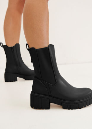 Pu Elasticated Side Chunky Chelsea Ankle Boots Black