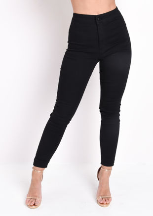 Elle High Waisted Super Skinny Denim Jeans Black
