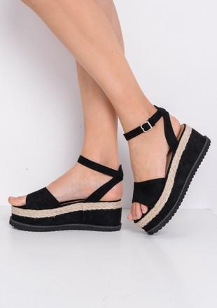 Espadrille Flatform Faux Suede Sandals Black