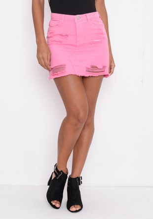 Extreme Ripped Mini Bodycon Denim Skirt Pink