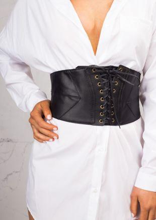 Elasticated Pu Front Lace Up Corset Waist Belt Black