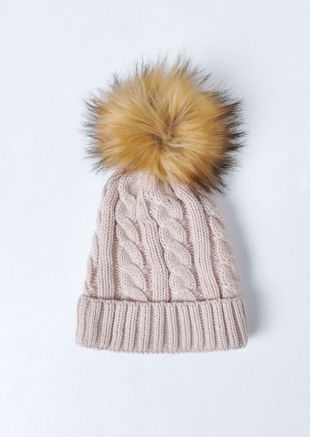 Faux Fur Bobble Knitted Fleece Lined Hat Beige