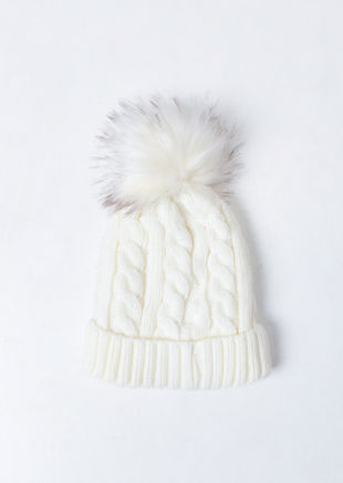 Faux Fur Bobble Knitted Fleece Lined Hat White