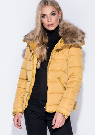 Faux Fur Collar Quilted Padded Puffer Jacket Coat Mustard Yellow