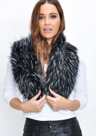 Faux Fur Collar Scarf Black
