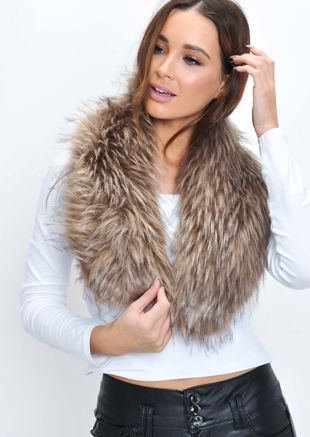 Faux Fur Collar Scarf Mink Brown