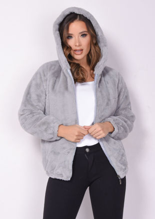 Faux Fur Crop Hooded Coat Grey