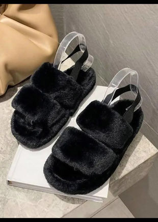 Faux Fur Fluffy Strap Back Slider Sandal Black