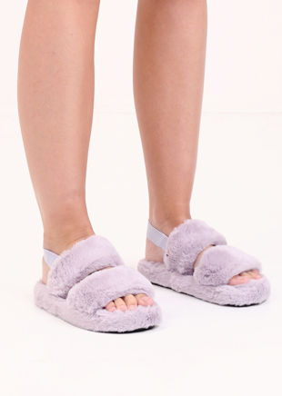 Faux Fur Fluffy Strap Back Slider Sandal Purple