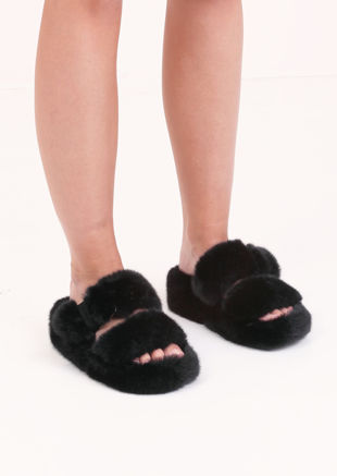 Faux Fur Fluffy Strap Platform Slider Sandal Black