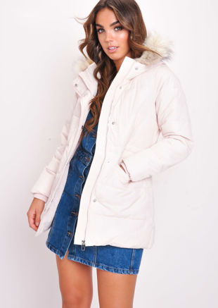 Faux Fur Hooded Padded Long Puffer Coat Dusty Pink