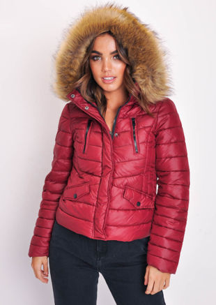 Quilted Padded Contrast Zip Puffer Coat With Hood Burgundy Red
