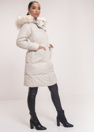 Faux Fur Hooded Drawstring Longline Padded Puffer Coat Beige