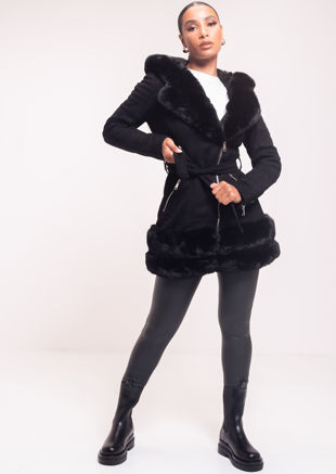 Faux Fur Hooded Suede Longline Belted Coat Black