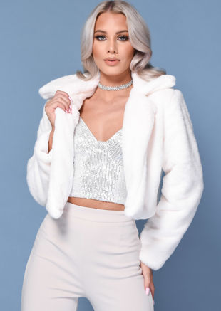 Faux Fur Long Sleeve Cropped Teddy Coat White