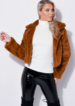 Faux Fur Long Sleeve Cropped Teddy Coat Brown