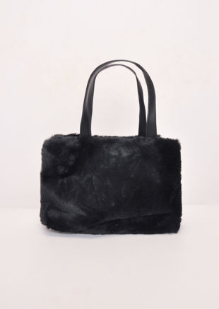 Faux Fur Mini Bucket Bag Black