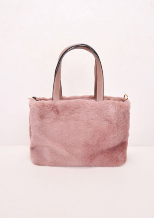 Faux Fur Mini Bucket Bag Pink