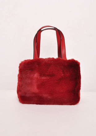 Faux Fur Mini Bucket Bag Wine Red