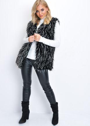 Faux Fur Mongolian Longline Gilet Black