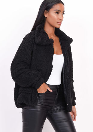 Faux Fur Oversized Zip Up Teddy Jacket Black
