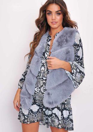 Faux Fur Panel Gilet Grey