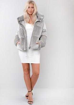 Velvet Cropped Puffer Jacket Coat Grey