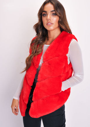 Faux Fur Panel Gilet Red