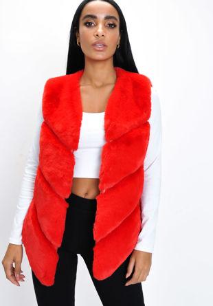 Faux Fur Panel Gilet Red