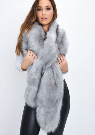 Faux Fur Scarf Grey