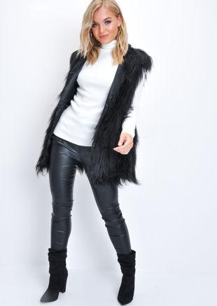 Faux Fur Shaggy Mongolian Gilet Black