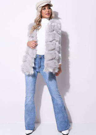 Faux Fur Stripe Gilet Jacket Grey
