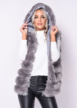 Faux Fur Stripe Hooded Gilet Jacket Grey