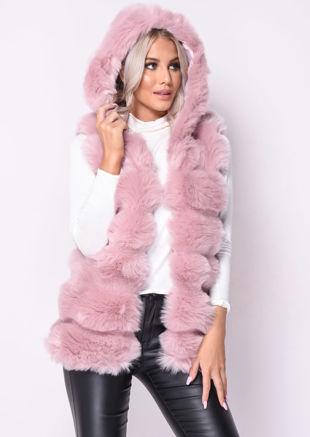 Faux Fur Stripe Hooded Gilet Jacket Pink