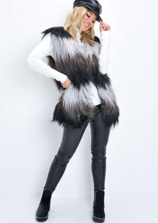 Faux Fur Stripe Longline Gilet Black