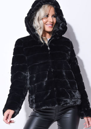 Faux Fur Striped Crop Hooded Coat Black