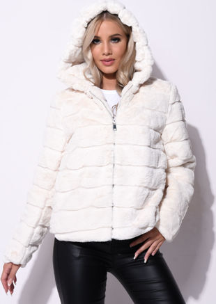 Faux Fur Striped Crop Hooded Coat Cream Beige