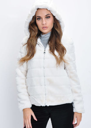 Faux Fur Striped Crop Hooded Coat Cream White