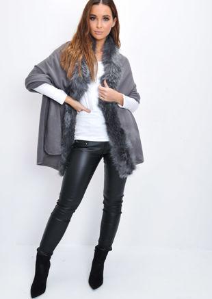 Faux Fur Trim Knitted Poncho Cape Wrap Grey