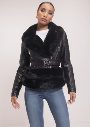 Faux Fur Trimmed Fitted Faux Leather Belted Biker Jacket Black