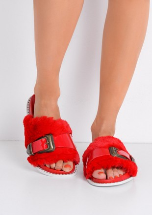 Faux Fur Western Multi Buckle Sliders Red