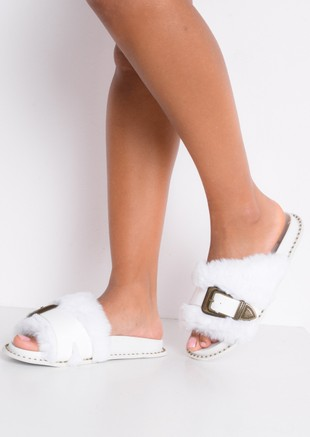 Faux Fur Western Multi Buckle Sliders White