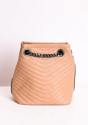 Faux Leather Chevron Chain Pouch Bag Brown