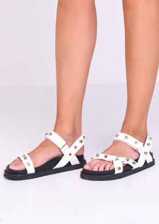 Faux Leather Studded Chunky Strap Sandals White
