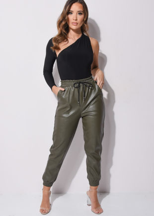 PU Leather Look Pocket Detail Utility Jogger Trousers Khaki Green
