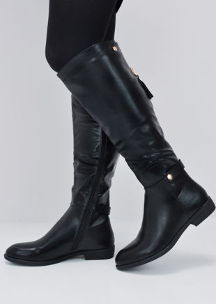 75fe9c61db0 Faux Leather Gold Detail Long Boots Black