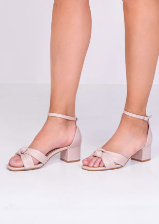 Faux Leather Knot Front Heeled Sandals Beige